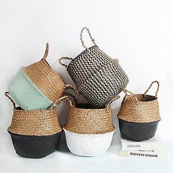 Storage Laundry Seagrass Wicker Hanging Flower Pot Basket