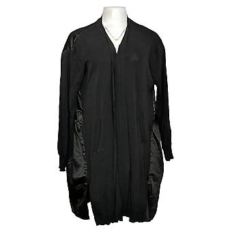Truth + Style Women's Mixed Media Sweater Knit Satin Duster Black A389338