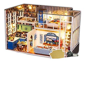 Diy House Miniature With Furniture Led Music Dust Cover Model Building Block