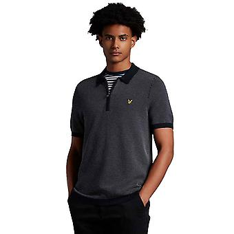 Lyle & Scott Jacquard Repeat Knitted Polo Shirt - Dark Navy