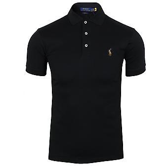 رالف لورين الرجال & apos;ق أسود بيما قميص البولو