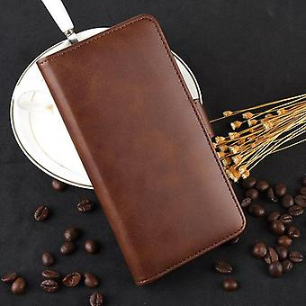 Magnetic Folio Leather Case for Samsung Galaxy A50 - Brown