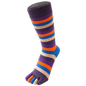 TOETOE Essential Striped Mid Calf Socks - Midnight Purple