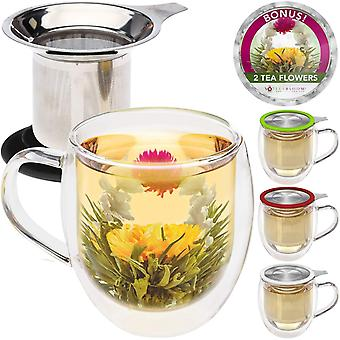 DZK Double Wall Borosilicate Glass Mug with Stainless Steel Infuser and Lid, 2 Gourmet Tea Flowers