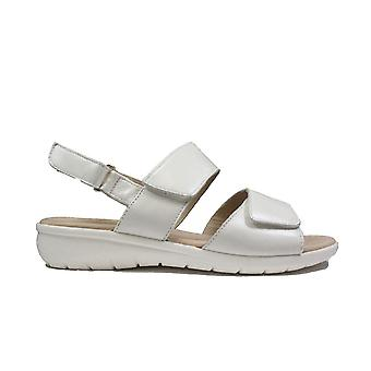 Caprice 28650-102 White Leather Womens Rip Tape Sling Back Sandals