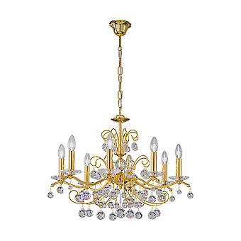 Klassisk kristall 8 armkrona polerat guld, 8x E14