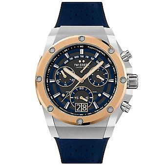 TW Steel Ace122 Ace Genesis Rose Gold & Blue Rubber Chronograph Mens Watch