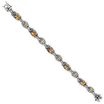 925 Sterling zilveren doos vangst sluiting met 14k 4.29Citrine 7.25inch armband sieraden geschenken voor vrouwen