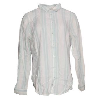 WE by Living in Yellow Women's Top Button Down Striped Shirt White