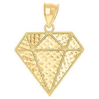 10k Yellow Gold Mens Fashion Diamond Shape Charm Pendant Necklace Jewelry Gifts for Men - 2.8 Grams
