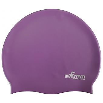 SwimTech Silicone Swim Cap Purple