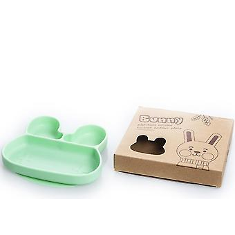 Rabbit green children's silicone dinner plate, food divider bowl az14851