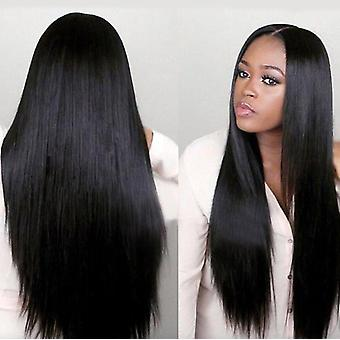 European And American Wig Female Long Straight Hair Black Mid-point African Wig Chemical Fiber Hood