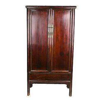Fine Asianliving Antikk Kinesisk Kabinett Mahony Rød W94xD49xH187cm