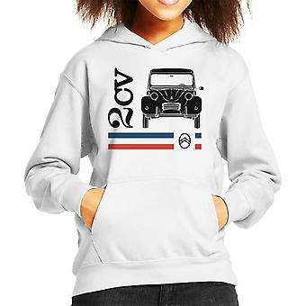 Citroen Svart 2CV Racing Stripes Kid's Hooded Sweatshirt