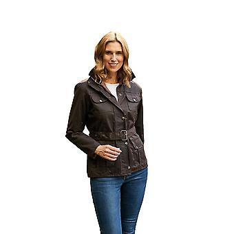Ladies Champion Ellon Lined Waterproof Wax Fabric Belted Design Jacket Coat 20 Brown