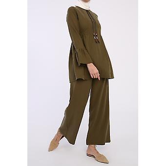 100% Tencel Poet Sleeve Blouse And Pants Set