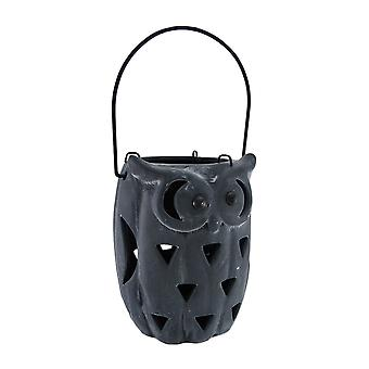 Ceramic Owl Cut-Out Design Candle Lantern Blue