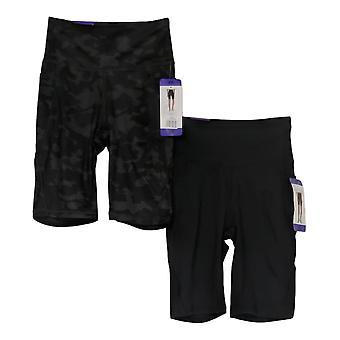 Danskin Women's Shorts Reg 2-Pack Polyester Bike Printed Black