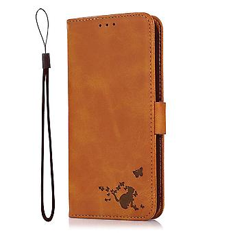 Case For Oppo Reno 6 5g Wallet Flip Pu Leather Cover Card Holder Coque Etui - Yellow Cat