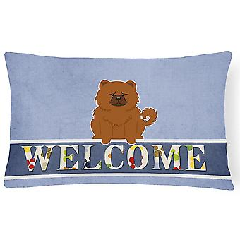 Pillows chow chow red welcome canvas fabric decorative pillow