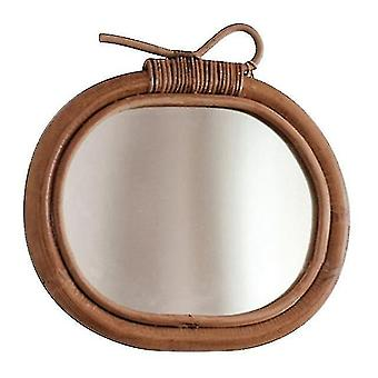 Mirrors rattan wall mirror decoration nordic vintage round make up mirror hanging decor apple art decor
