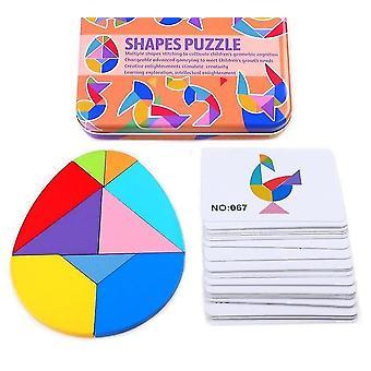 2+ Portable magnetic tangram educational children's puzzle book(Egg-shape)