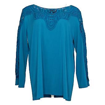 Antthony Women's Top Bracelet-Sleeve Crochet Knit Tunic Blue 716479