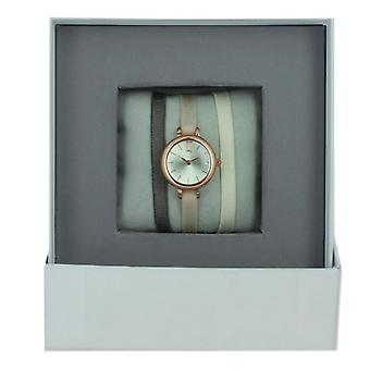 Reloj de mujer The Interchangeables Satin Ribbon Watch Case Strech A56921 - Pulsera Tela Marrón