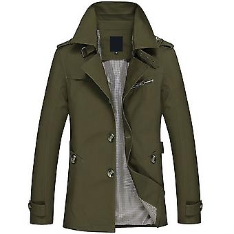 Mile Men's Solid Lapel Washed Single Breasted Short Trench Coat