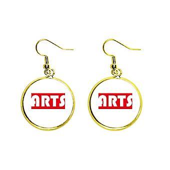 Cours et majeur Single Word Arts Red Ear Dangle Golden Drop Boucle d'oreille Bijoux Femme