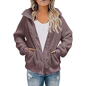 kvinners plysj langermet jakke yttertøy frakk ertjakke enkeltbrystet