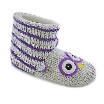 SlumberzzZ Kids filles nouveauté Owl et Stripes Design Slip chaud petite botte chausson