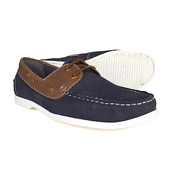 Silver Street London Wave Mens Navy Suede Boat Shoes
