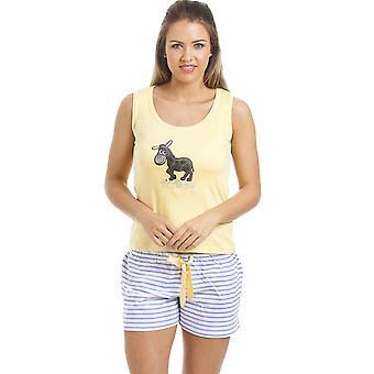 Camille Lemon gele Donkey Motif korte Pyjama Set