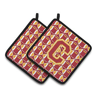 Letter C Football Cardinal and Gold Pair of Pot Holders