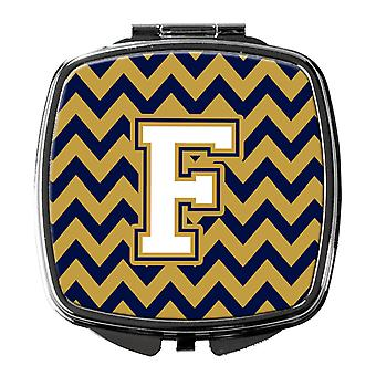 Letter F Chevron Navy Blue and Gold Compact Mirror