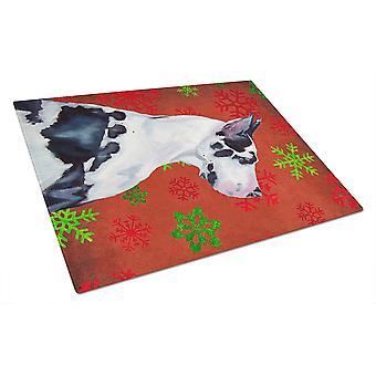 Dog niemiecki czerwony i zielony płatki śniegu na wakacje Christmas szklana deska do krojenia dużych