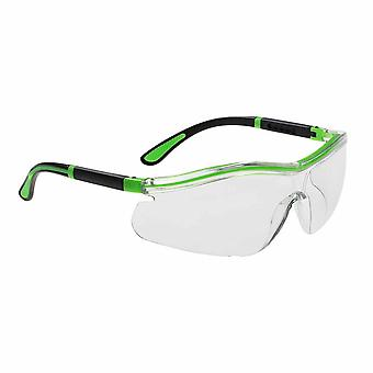 Portwest - Contrast Neon Wide Vision Adjustable Lightweight Safety Spectacles