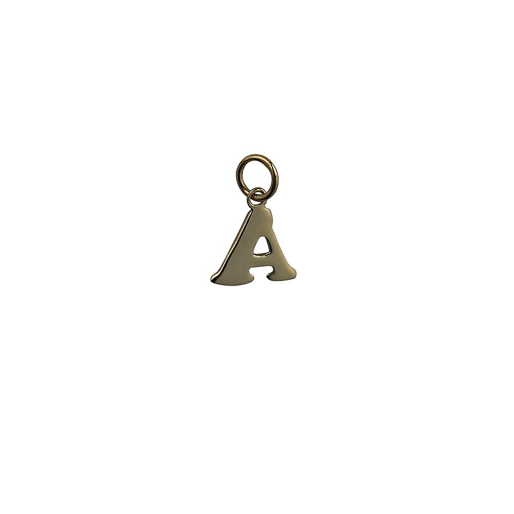 9ct Gold 11x12mm plain Initial A Pendant or Charm