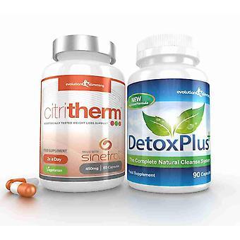 CitriTherm Fett-Brenner mit DetoxPlus Combo - 1 Monat liefern - Fettverbrennung und Darmreinigung - Evolution-schlank