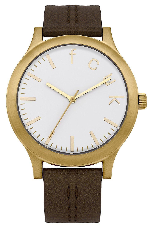 Français connexion Womens Watch cadran blanc cuir marron bracelet FC1138TG