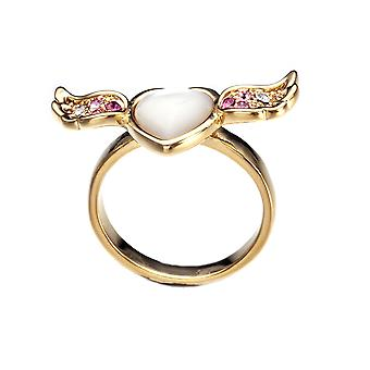 Ring Woman Heart, Mother-of-pearl Wing adorned with crystal by Swarovski White Rose 6283
