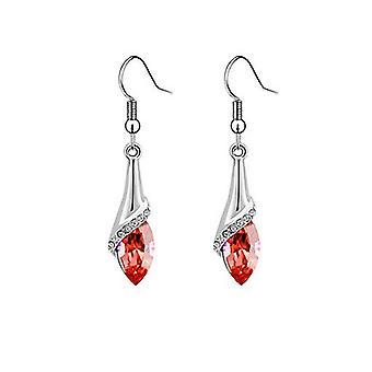 Womens röda sten Leaf örhängen Crystal sten BGCW35