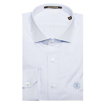 Roberto Cavalli Men's Spread Collar Cotton Dress Shirt White Blue