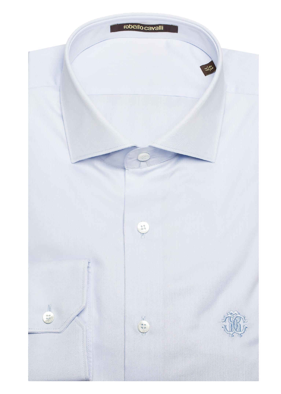 Roberto Cavalli Men's Spread Collar Cotton Dress Shirt White Blue