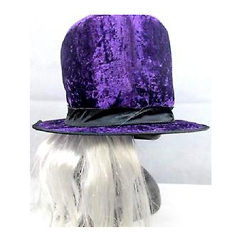 Purple Top Hat with Attached Hair