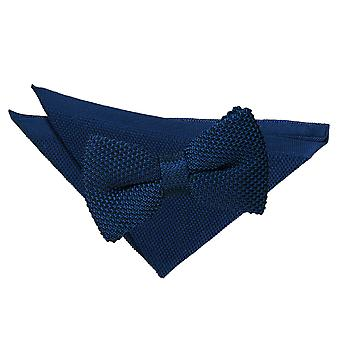 Navy Blue Knitted Bow Tie & Pocket Square Set