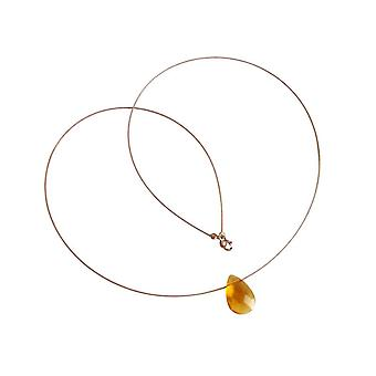 Gemshine damer Citrin halsband hänge gul guldpläterad facetterad droppe
