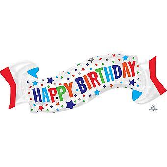 Anagram Supershape Happy Birthday Banner Foil Balloon